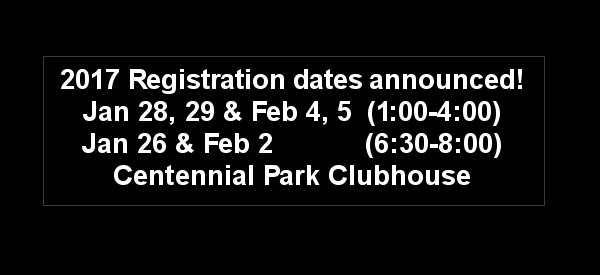 2017 Registration dates announced!!